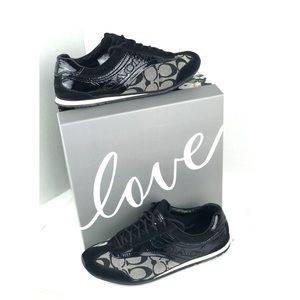 Coach Kodie Sneaker Shoes Black Patent Leather 6M
